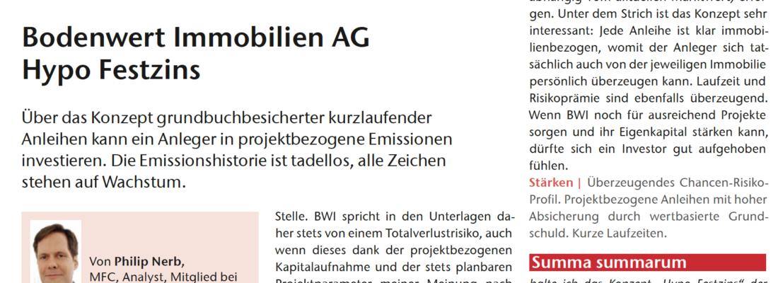 """HYPO FESTZINS erhält Note """"sehr gut"""" (1-) vom Analyse-Haus Werteanalysen.de"""