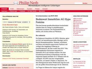 Investmentanalyse Bodenwert Hypo Festzins